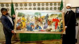 تابلو نقاشی «شرط توحید» به آستان مقدس بانوی کرامت اهدا شد + تصاویر