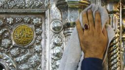 جلای ضریح حضرت معصومه(س) توسط خادمان حرم مطهر
