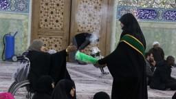 احتفال بهيج بمناسبة ولادة السيدة فاطمة الزهراء سلام الله عليها في حرم السيدة المعصومة مع مشاركة قناة الولاية العالمية