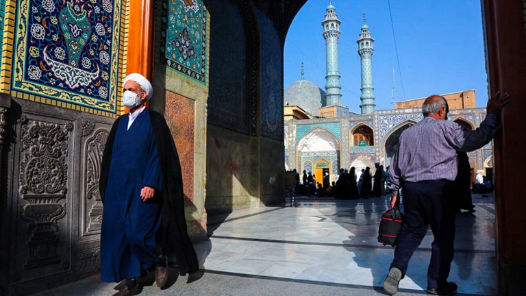 The holy shrine of Lady Fatima Masumah (s.a) has partially reopened .